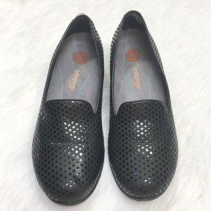 Dansko Black Polka Dot Leather Flats Orthaheel 8.5